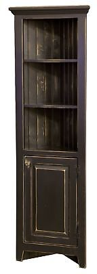 "Solid Wood - 29"" Primitive Corner Cabinet Farmhouse Cottage Cupboard Distressed"