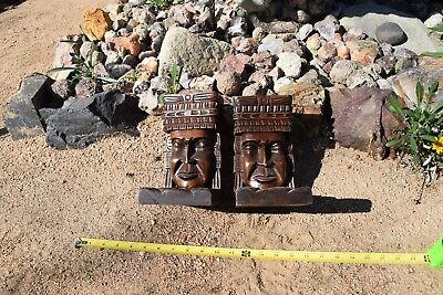 Tiki Totem Mayan Carved Wood Book ends