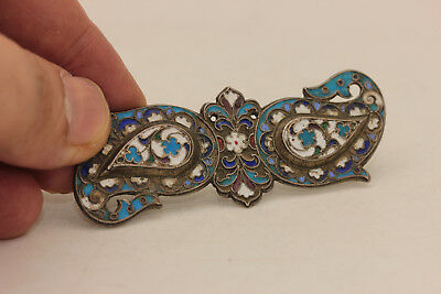 Antique Original Perfect Silver Russian Enamel Small Amazing Belt Buckle