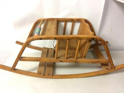 Vintage Wooden Baby Rocker Glider Seat Chair With Tray Play Wooden Beads Prop