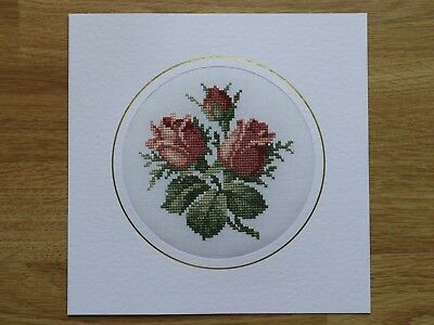 Completed Cross Stitch Card -Roses