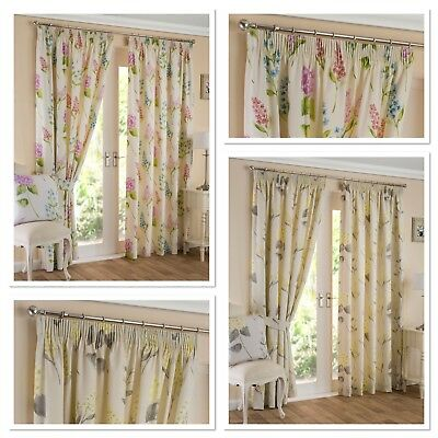 """Sundour Luxury Floral Firenze Fully Lined3"""" Pencil Pleat Curtains Ochre or Multi"""