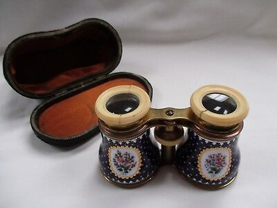 Large French Enameled Opera Glasses- Ivory Loops- Custom Case- Make Offer