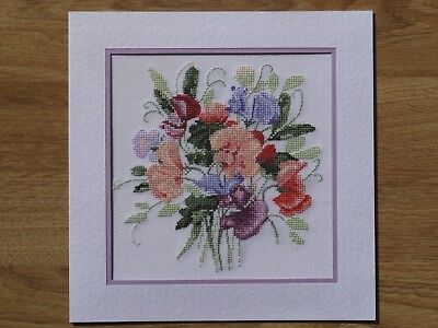 Completed Cross Stitch Card - Sweetpea Posy