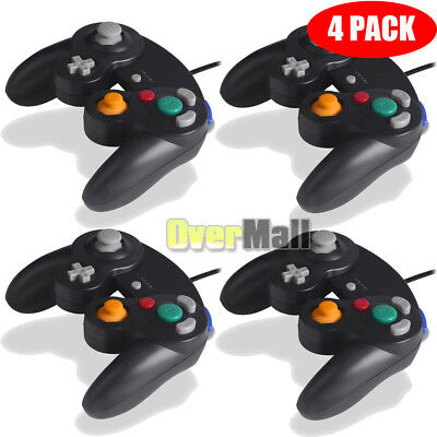 Lot 4 x New Black Shock Game Controller Pad for Nintendo Gamecube GC Wii USA