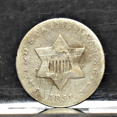1851 Three Cent Silver 3CS - Good (#12217)