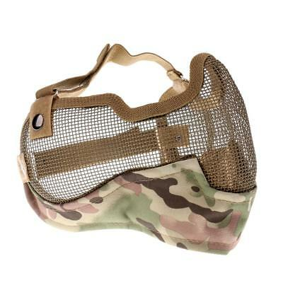 Outdoor Half Face Steel Mesh Mask / Mouth Ear Guard Game Military Camo CP