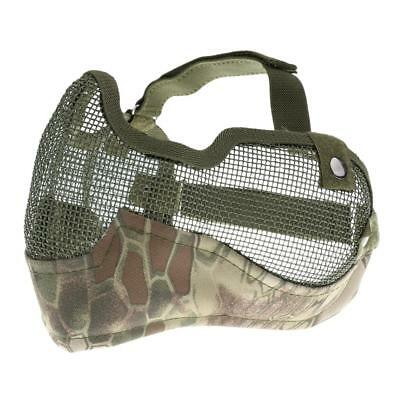 Outdoor Half Face Steel Mesh Mask / Mouth Ear Guard Game Military Camo Green