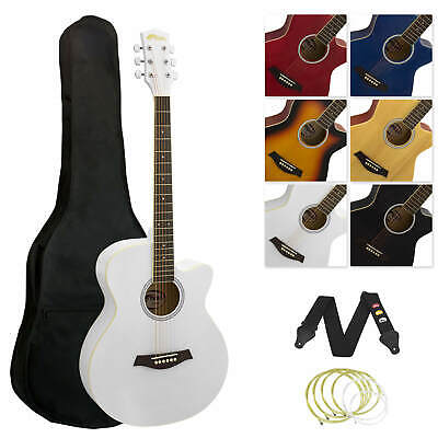 Tiger Full Size Beginners  Acoustic Guitar Package, Bag, Strap & Strings - White