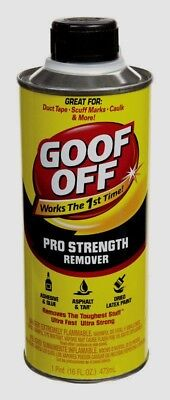 GOOF OFF Pro Strength Remover Sticky Tape Glue Tar Adhesive Latex Pain 1pt FG653