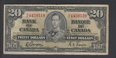 1937 $20 Dollars - Gordon Towers - Prefix D/E - Bank of Canada - E300