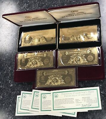 Lot Of (5) Year 2000 ~ 1899 $2 Gold Plated 22Kt Certificates Large Size! Nr!