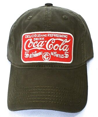 COCA-COLA Adjustable Baseball Hat/Cap Olive One Size Fits Most >NEW<