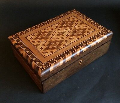 Fab Antique Rosewood Parquetry Inlaid Victorian Box!
