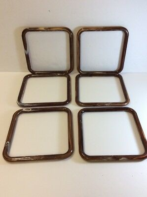 """Lot Of 6 Marbella Marbled Brown Square 6"""" Plastic Craft Purse Handles"""