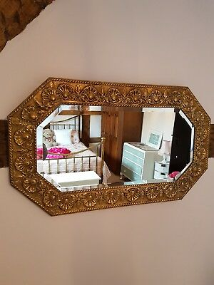 Rectangular/Octagonal Edwardian brass floral embossed bevel edged mirror