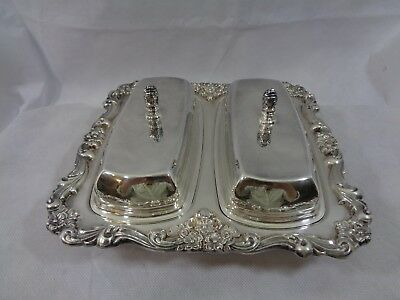 Antique Poole Silverplate Lancaster Rose Double Butter Dish with Liners