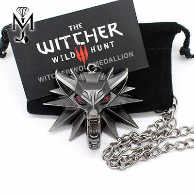 The Witcher 3 III Wild Hunt Wolf Medallion Kette Geralt Necklace + Samtbeutel