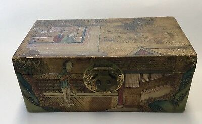 ANTIQUE 19TH CENTURY PIG SKIN TRUNK SMALL BOX HAND PAINTED  Chinese Brass Handle