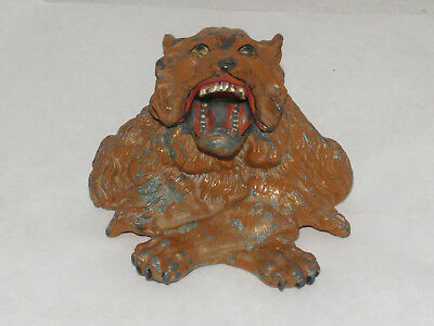 Antique Jennings Brothers Jb 451 Pot Metal Figural Inkwell Inkstand Roaring Lion