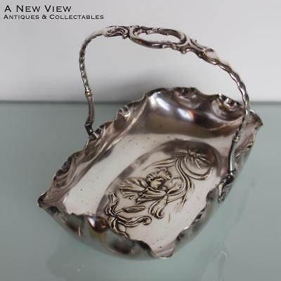 WMF Art Nouveau silver plated floral serving basket.
