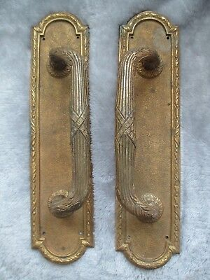 Vintage pair of ornate brass pub / shop door pulls / handles