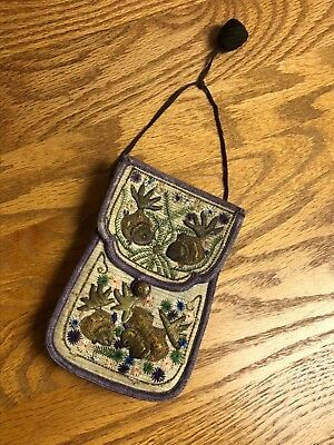 Beautiful Vintage Antique Chinese Silk Embroidered Pouch