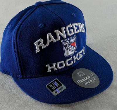 849833e4347 LZ Reebok Adult Fitted S M New York Rangers Hockey NHL Baseball Cap Hat NEW