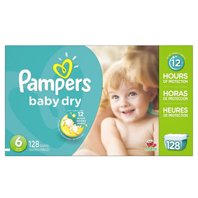 Brand NEW Pampers Baby Dry Size 6 Diapers 128 ct. 003700086253