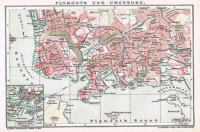 Plymouth Stadtplan 1907 - Aberplymm - Devon Port - Hamoaze - Plymouth city map