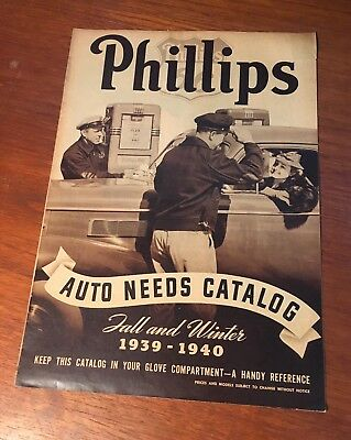 Phillips 66 1939 – 1940 Auto Needs Catalog Motor Oil Tires Battery Booklet Rare!