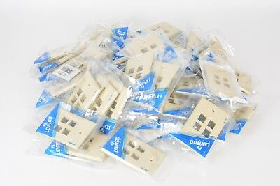 Leviton 41080-4IP Electrical Wall Plate QuickPort Four-Port 1Gang Ivory 70 Piece