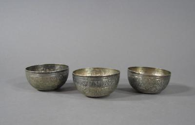 3 Nice Antique Malay Or Straits Silver Wine Cups Or Small Bowls