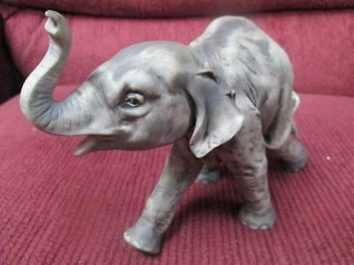 Porcelain Elephant Figurine Trunk Up Gray Color #635 On Left  Foot Nice  Used