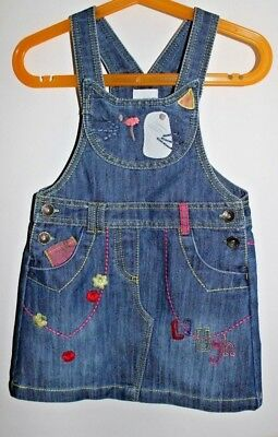NEXT denim overall skirt with embroidery for little girls size 3-4 year (104 cm)