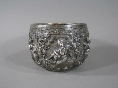Nice Antique Burmese Repousse Silver Bowl, Indian, 355 Grams