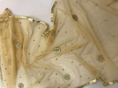 $5.99 Partywear Gold  Dupatta designer work Indian  Scarf Match any Dress Suit