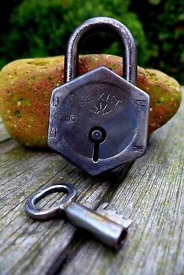 Vintage Padlock Unique Shape One key Collector Logo Sexet 17-05