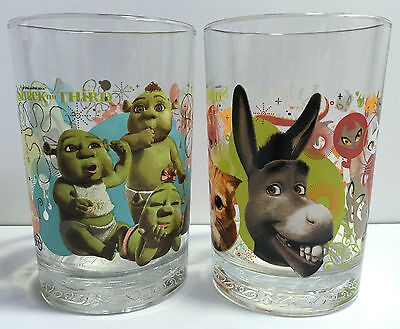 Collectable Set2 Shrek The Third DreamWorks Animation Glassware McDonalds Donkey