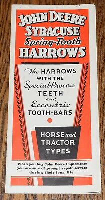 1936 John Deere Syracuse Spring Tooth Harrows Vintage Advertising Brochure Antiq