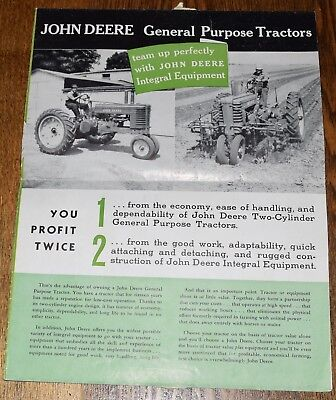 1939 John Deere Tractor Model G B A H 2 Cylinder Poster Brochure Advertising