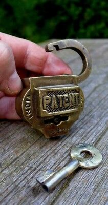 Vintage Antique Brass Padlock Unique Shape One key 08-06