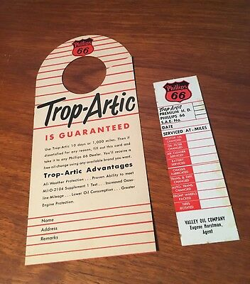 Phillips 66 1950s Trop-Artic Auto Hang Tag & Service Check-Up Sticker Paper
