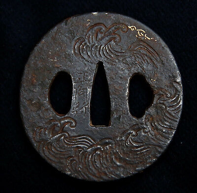 Authentic Japanese Endo Period Iron Tsuba - Waves, Traces of Gold Inlay, Writing