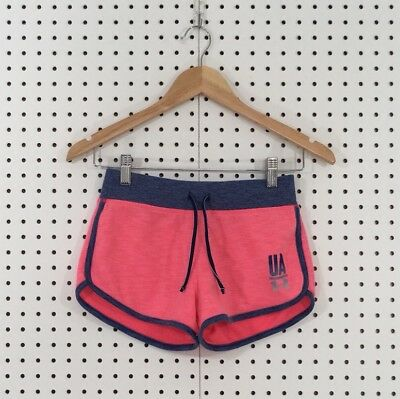 Under Armour Girl's Pink Blue French Terry Fleece Loose Athletic Shorts Medium M