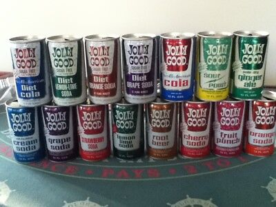 JOLLY GOOD Crimped steel pull top. No ml listed. All different flavors.15 cans.