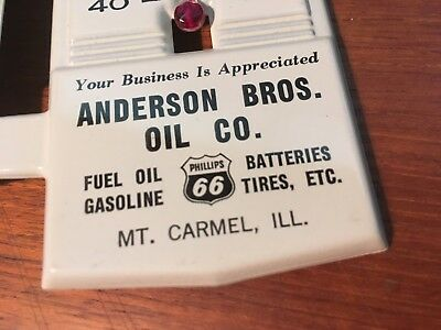 Phillips 66 Vintage Metal Thermometer Adhesive Strip Anderson Oil Mt. Carmel ILL