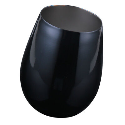 Stainless Steel Stemless Wine Glasses Metal Tumbler Cups Mug 500ml Black