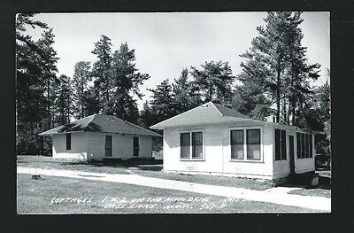 Cass Lake Minnesota MN c1940s RPPC Cass Lake Lodge Main Drive Cabins in Woods
