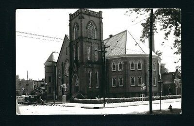 Centerville Iowa IA c1939 RPPC Old Brick Methodist Church Building on Corner